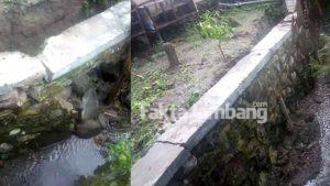 Saluran Irigasi Rp 155 Juta di Bangsri Jombang Berlubang dan Nyaris Roboh