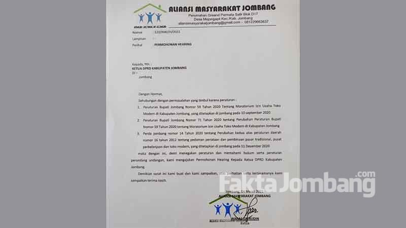 Surat permintaan hearing AMJ ke DPRD Jombang