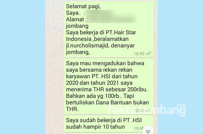 tangkapan layar pekerja PT HSI Jombang